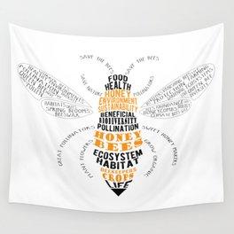 Honey Bee Word Cloud Wall Tapestry
