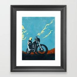 Retro caferacer scrambler motorcycle poster Framed Art Print