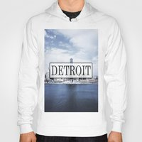 detroit Hoodies featuring Detroit Typography by Evan Smith