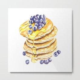 Pancake Stack Watercolor Painting Metal Print