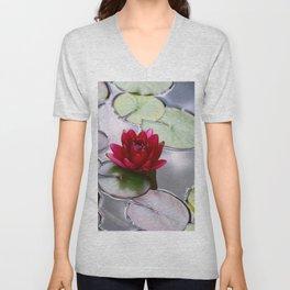 Dark Red Water Lily Unisex V-Neck