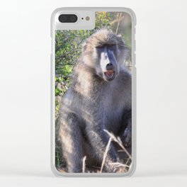 """Hey, whassup,"" said the Baboon Clear iPhone Case"