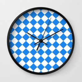 Diamonds - White and Dodger Blue Wall Clock