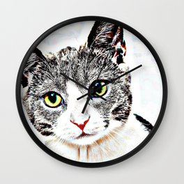 Purrfect (Perfect) Kitty Drawing Wall Clock