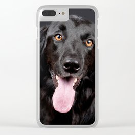 Black Hovawart Dog Tongue Out Clear iPhone Case