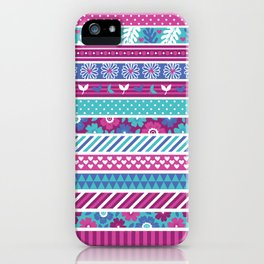 Abstract pink teal white geometrical floral patterns iPhone Case
