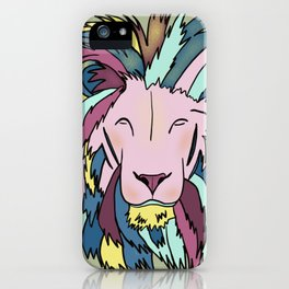 Lion Head King OF The Jungle In Teal, Pink, And Purple Pastels iPhone Case