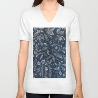 metallic V-neck T-shirts featuring Metallic Floral by Yaz Raja Designs