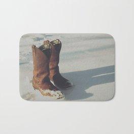 Cowboy Boots in Snow Bath Mat