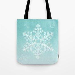 Typographic Snowfake Greetings - Ombre Teal Tote Bag