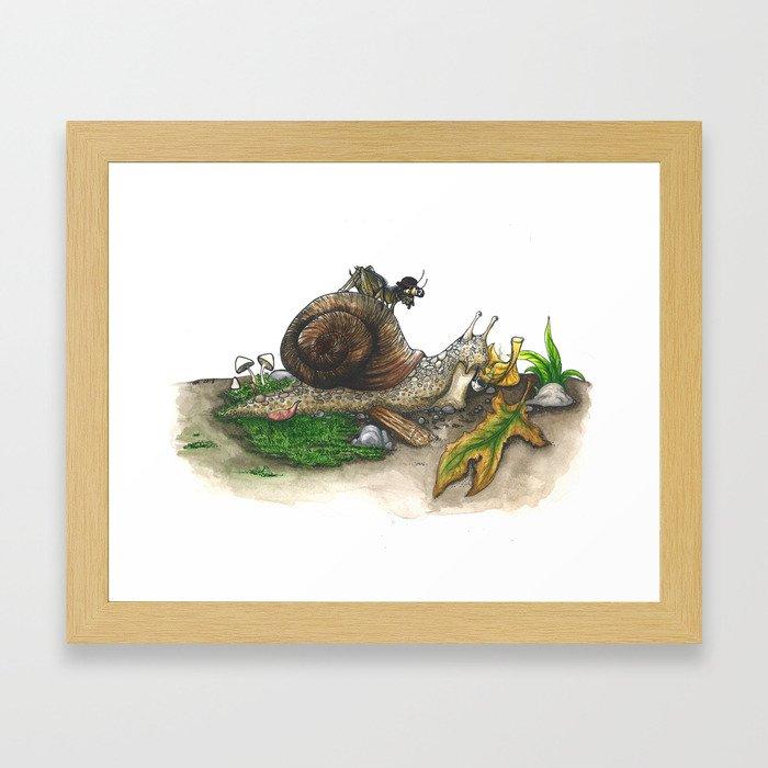 Little Worlds: Snail and Cricket Framed Art Print
