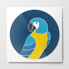 Blue and Yellow Parrot on Dark Blue Metal Print