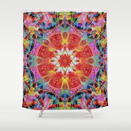 Red Lines In The Sky Mandala Shower Curtain