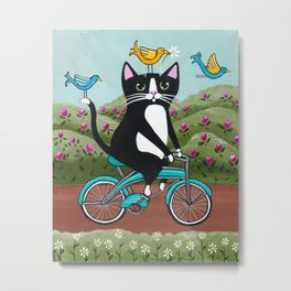 Tuxedo Cat Spring Bicycle Ride Metal Print
