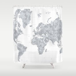 "Gray watercolor highly detailed world map, ""Jimmy"" Shower Curtain"