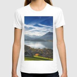 Lake Thun Bernese Alps autumn mountain landscape lake morning Switzerland Bernese Oberland T-shirt