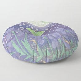 Moonlit stars, luna moths, snails, & irises Floor Pillow
