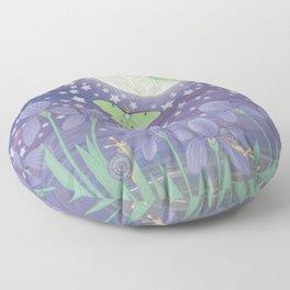Moonlit stars, luna moths, snails, & irises Floor Pillow