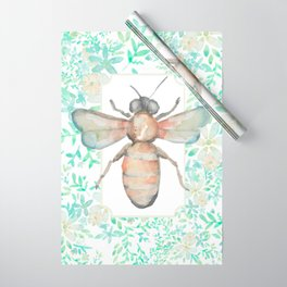 Garden Bee and Blooming Flowers Wrapping Paper