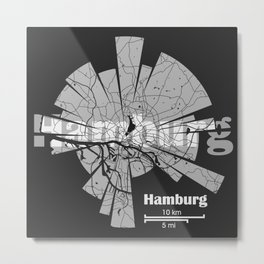 Hamburg Map Metal Print