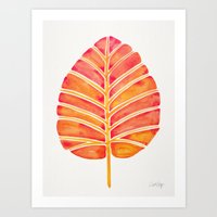 Elephant Ear Alocasia – Peach Palette Art Print
