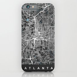 ATLANTA Map Georgia   Black & Blue   More Colors, Review My Collections iPhone Case