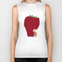 strawberry Biker Tanks featuring strawberry by Madmi