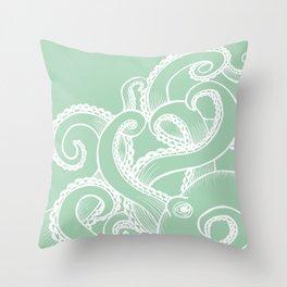 Octopus - Seafoam and white Throw Pillow