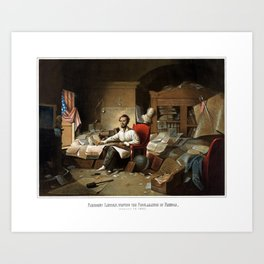 Lincoln Writing The Proclamation Of Freedom Art Print