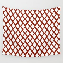 Rhombus White And Red Wall Tapestry
