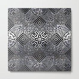 Silver Steel Carving Metal Print
