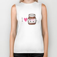 nutella Biker Tanks featuring Love Nutella by Kleviee