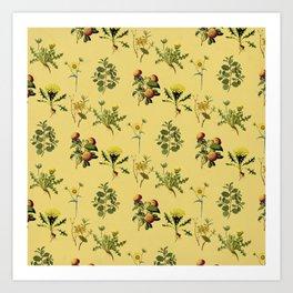 Wild Forest & Field Yellow Flower Herb Pattern Art Print