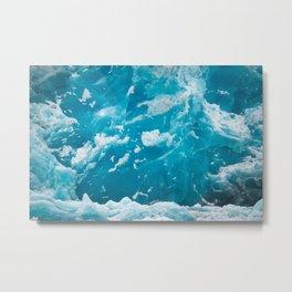 HD Blue Ice Glacier Metal Print