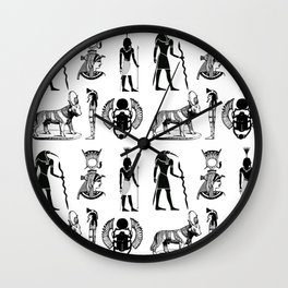 Ancient Egypt  Symbols in Black and White Pattern Wall Clock