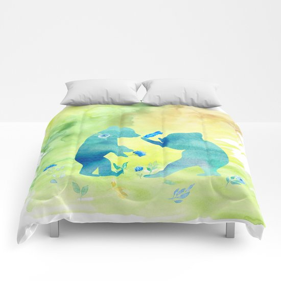 Playing bear kids - Animal Watercolor illustration Comforters