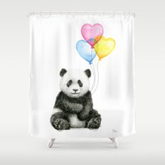 Panda Baby with Heart-Shaped Balloons Whimsical Animals Nursery Decor Shower Curtain