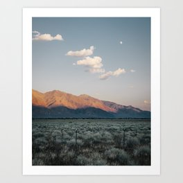 Sierra Mountains with Harvest Moon Art Print
