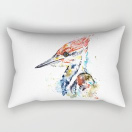 Woodpecker Colorful Watercolor Bird Painting Rectangular Pillow