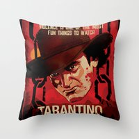 quentin tarantino Throw Pillows featuring TARANTINO Unchained by Jesus De La Mora