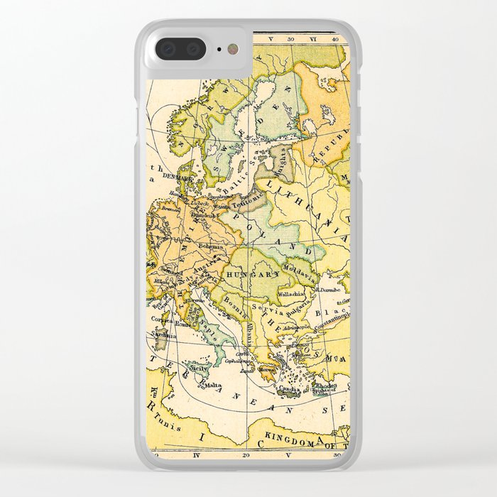 Europe During The 14th Century - Vintage Map Clear iPhone Case