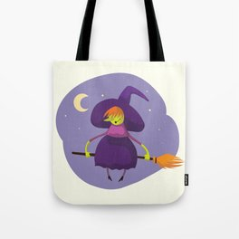 Friendly witch flying on broom Tote Bag