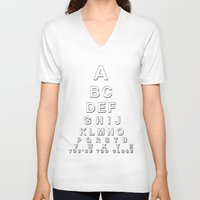 alphabet V-neck T-shirts featuring alphabet by jakeldesign