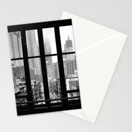 New York City Window Black and White Stationery Cards