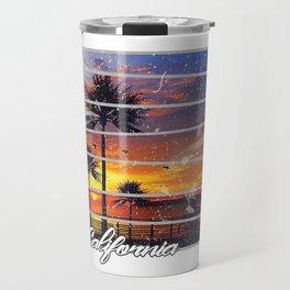 California Beach Sunset Retro Photo Island Paradise Travel Mug