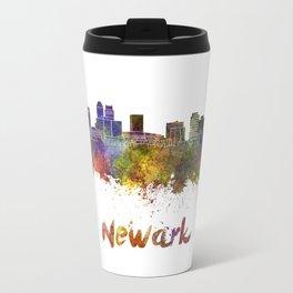 Newark skyline in watercolor Travel Mug