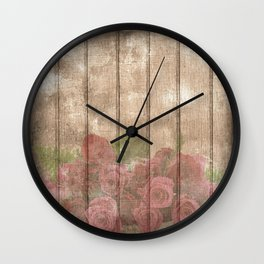 Vintage Shabby Chic Elegant Country Wine Roses Wall Clock