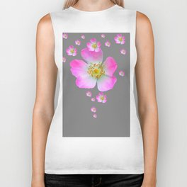 WILD PINK ROSE CASCADE ON GREY Biker Tank