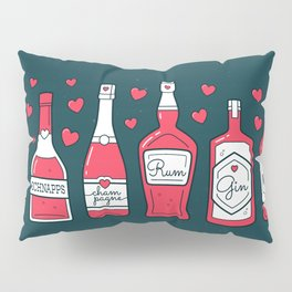 Holiday Season Bottles on Teal Pillow Sham