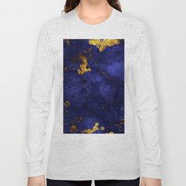 Gold Blue Indigo Malachite Marble Long Sleeve T-shirt